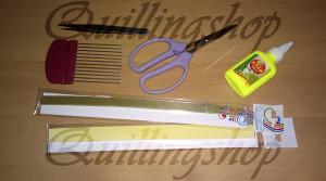 Материалы и инструменты для изготовления листьев клематиса в технике петельчатый квиллинг