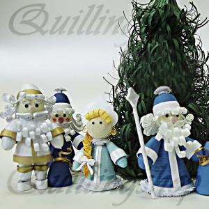 Дед Морозы и снегурочка (объемный квиллинг)