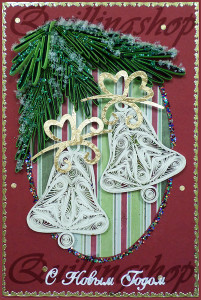 """Postcard """"Christmas bells"""", quilling, size 15x10cm"""