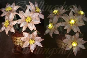 Персиковые цветы с подсветкой в технике TwistArt
