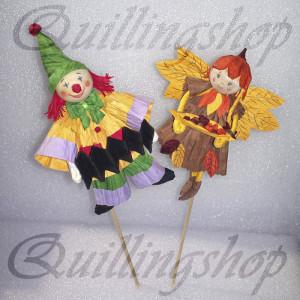 Веселый клоун и Осенняя фея - пальчиковые куклы, бумажные веревочки (твистарт)