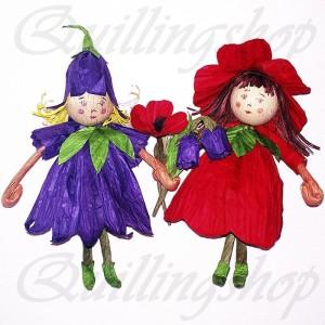 Фея Колокольчик и Маковая фея - пальчиковые куклы, бумажные веревочки (твистарт)