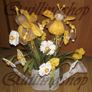 Пчелки - пальчиковые куклы из бумажных веревочек