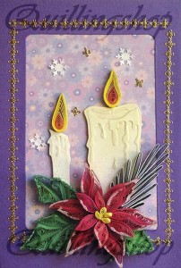 """Postcard """"Candles and Christmas roses-2"""", quilling, size 15x10cm"""