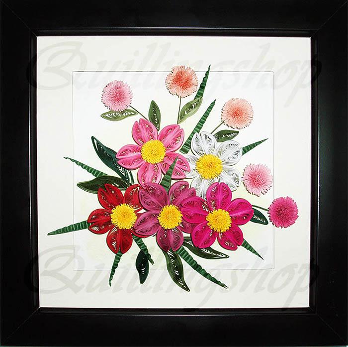 """Картина """"Цветочная композиция в розовых тонах """" в технике квиллинг. Власова Ольга (компания QuillingShop ™)"""