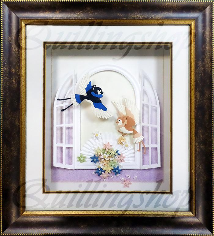 "The pictures ""Bird at the window"", paper-plastic, 35х40 cm"