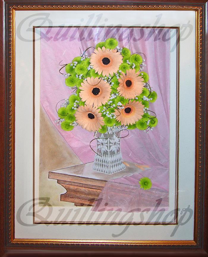 """Картина """"Герберы в вазе"""" в технике квиллинг. Автор: Власова О. (компания QuillingShop ™)"""