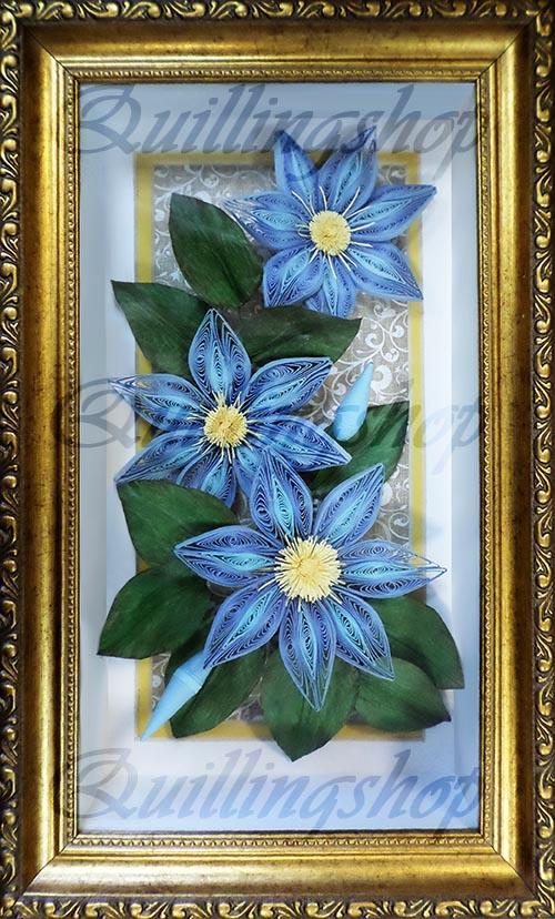 """Картина """"Голубые клематисы"""" в технике квиллинг. Автор: Власова О. (компания QuillingShop ™)"""