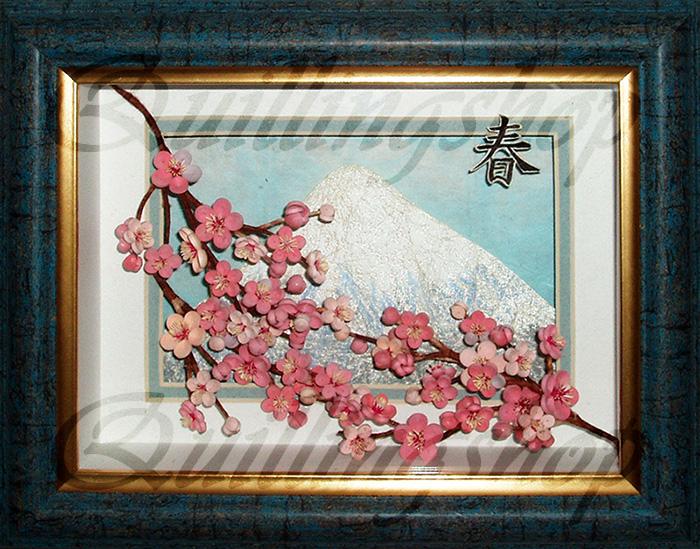 """Картина в технике квиллинг """"Весна-сакура"""". Автор: Власова Ольга (компания QuillingShop ™)"""