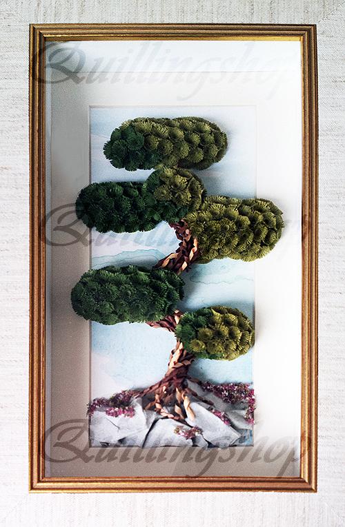 """Картина """"Сосна на цветущей горе"""" в технике квиллинг. Автор: Власова Ольга (компания QuillingShop ™)"""