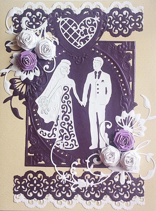 Свадебная открытка, скрапбукинг с элементами квиллинга