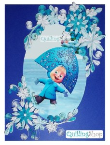 """Postcard """"Winter's tale"""", quilling"""