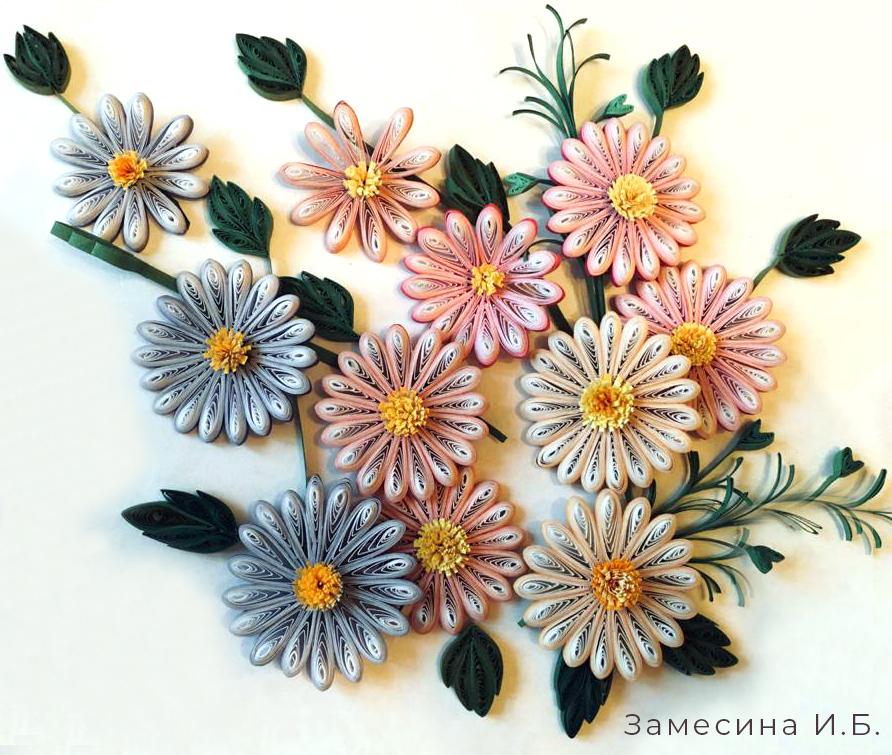 Цветы из бумаги с градиентом (120гр)